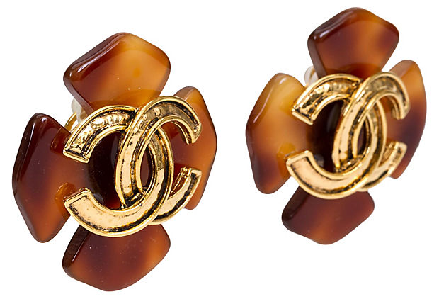 Chanel Faux-Tortoise Clover Earrings