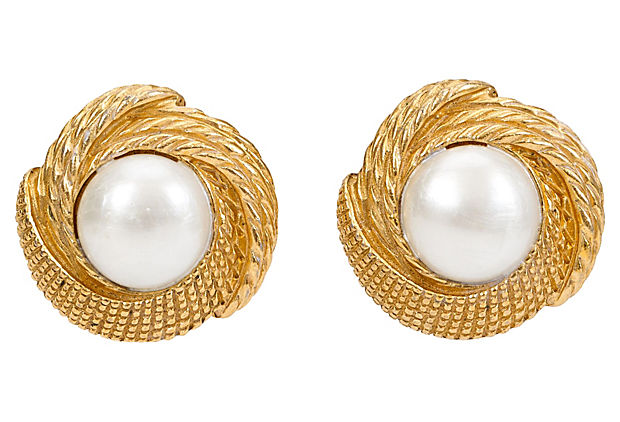 1970s Chanel Faux-Pearl Earrings