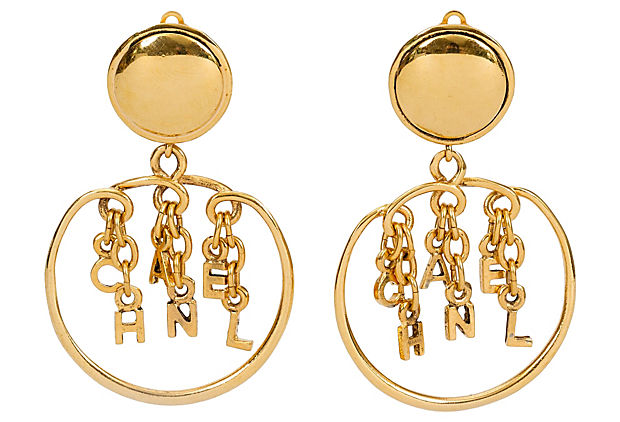 1980s Chanel Dangling Letters Earrings