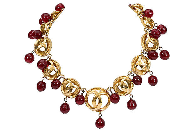 Chanel Red Gripoix Drops Choker
