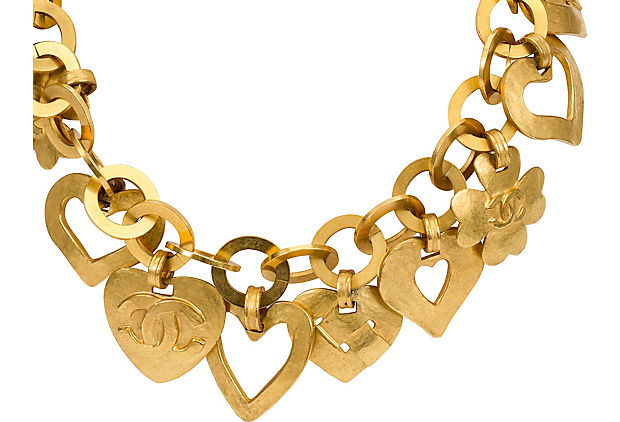 Chanel Satin Gold Herat Charm Necklace