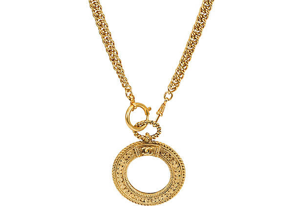 Chanel Long Textured Magnifier Necklace
