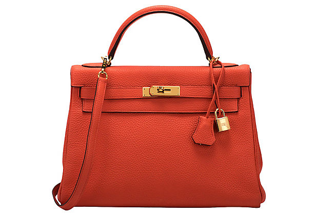 Hermès 32cm Feu Togo Kelly Bag