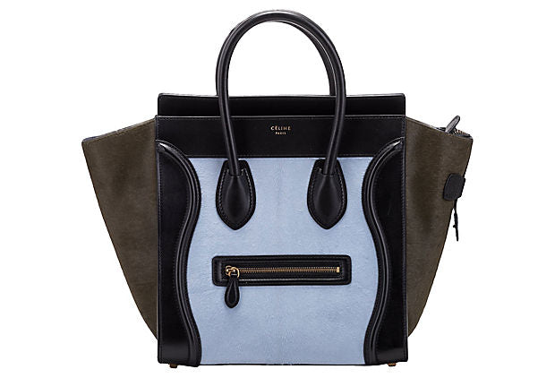 Céline Tricolor Pony Hair Mini Luggage - Celine - Vintage Lux