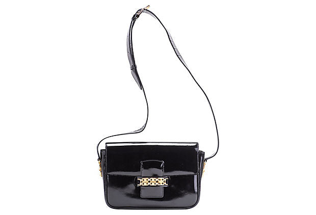 Celine Black Patent Shoulder Bag