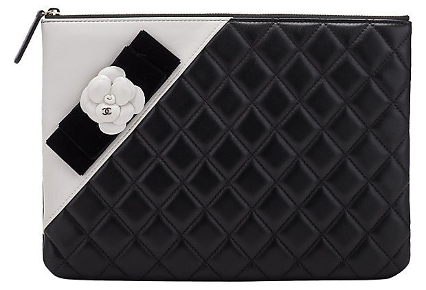 Chanel Black & White Camellia Clutch