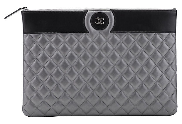 Chanel Large Pewter & Black Clutch