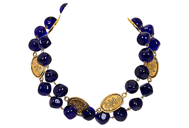 Chanel Blue Gripoix Coin Necklace