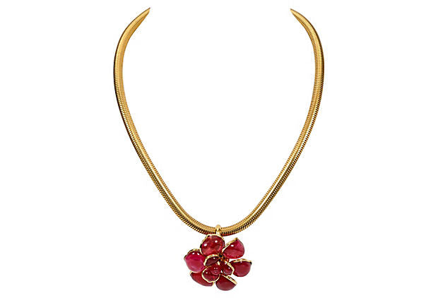 Chanel Berry Gripoix Camellia Choker