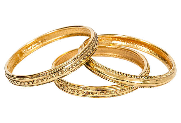 Chanel Etched Goldtone Bangles S/3