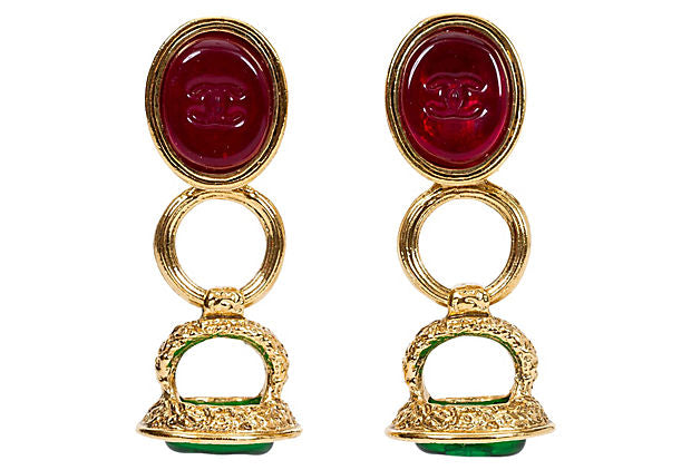 Chanel Red & Green Seal Drop Earrings