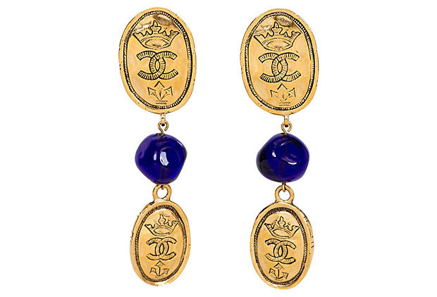 Chanel Blue Gripoix Logo Coin Earrings - Chanel - Vintage Lux
