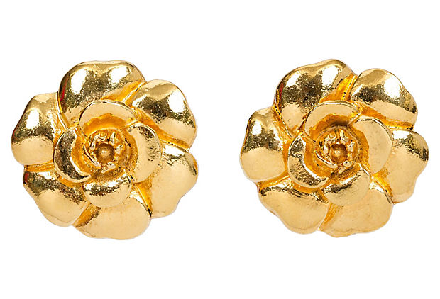 1970s Chanel Gold Camellia Earrings