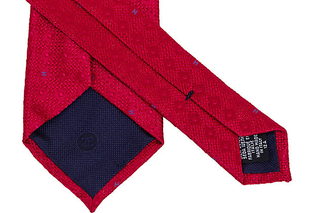 Chanel Red Silk Tie