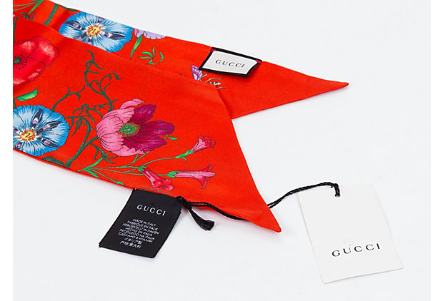 Gucci Red SIlk Long Floral Scarf