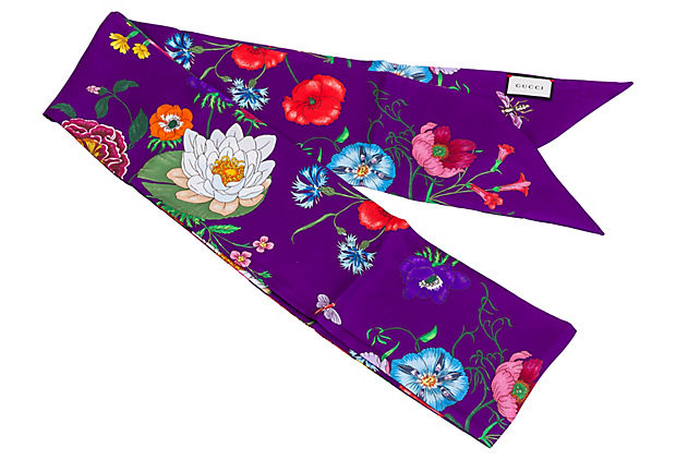 Gucci Purple Silk Floral Scarf