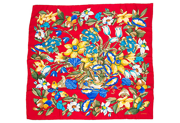 Chanel Red Floral Silk Scarf