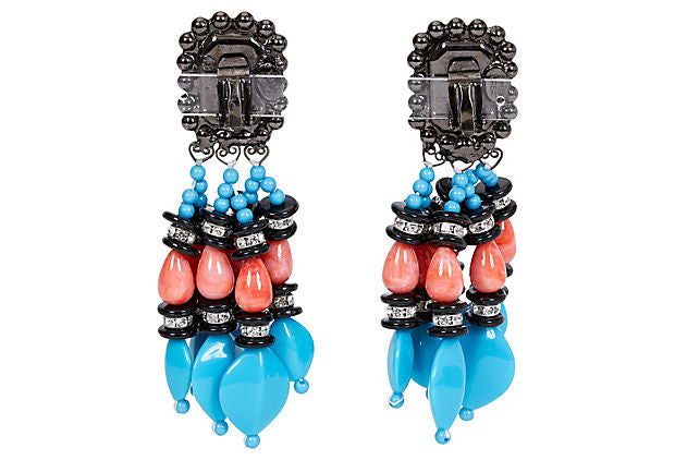 Vrba Onyx Coral & Turquoise Earrings