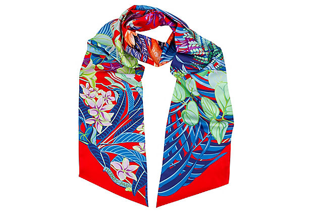 Hermès Flamingo Party Maxi-Twilly Scarf