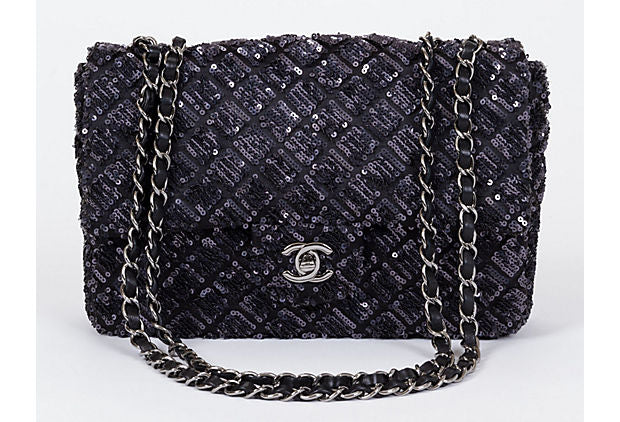 Chanel Black & Grey Sequins Flap Bag