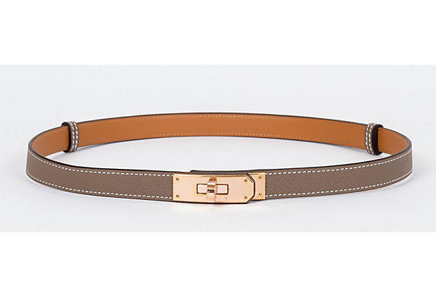 Hermes Kelly Belt In Rose Gold & Etoupe