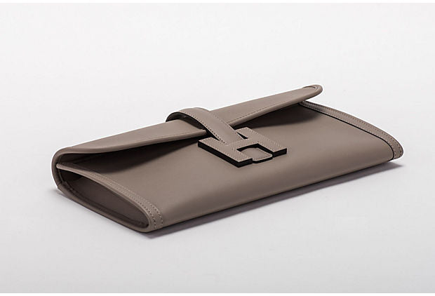 Hermes Gris Asphalt Jige Swift Clutch