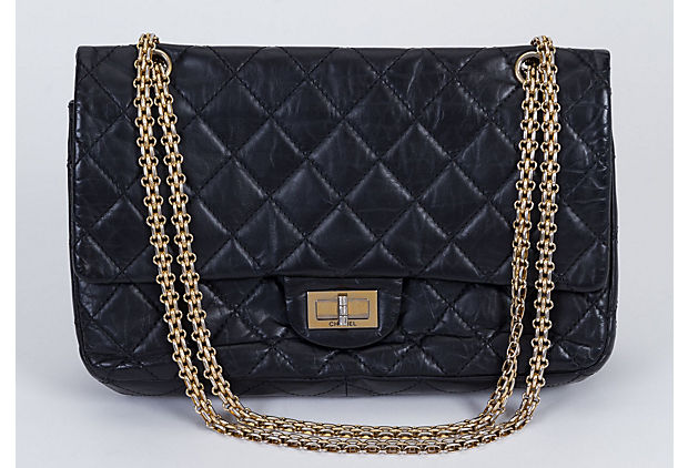 Chanel Black Reissue Gold Jumbo Flap - Chanel - Vintage Lux