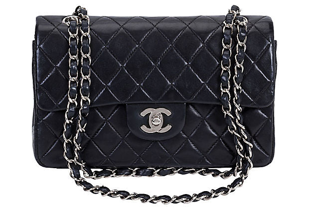 "Chanel 9"" Black & Silver Double Flap bag - Chanel - Vintage Lux"