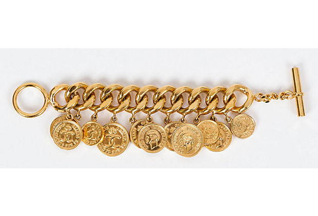 Chanel 70s Dangling Coin Gold Bracelet - Chanel - Vintage Lux