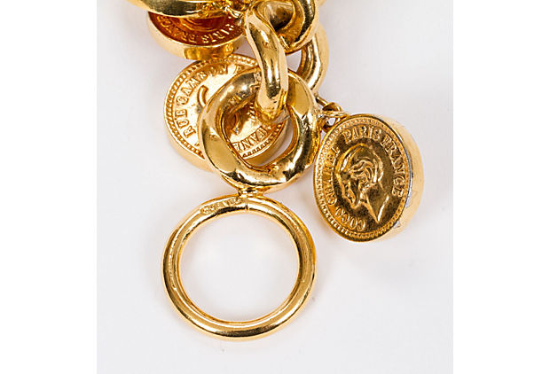 Chanel 70s Dangling Coin Gold Bracelet