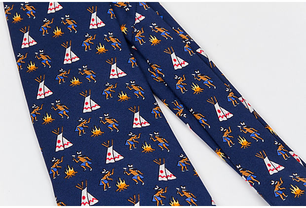 Hermes Navy Silk Indian Tie New in Box