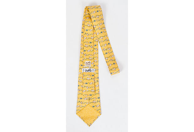 Hermes New Yellow Rabbit Print Tie