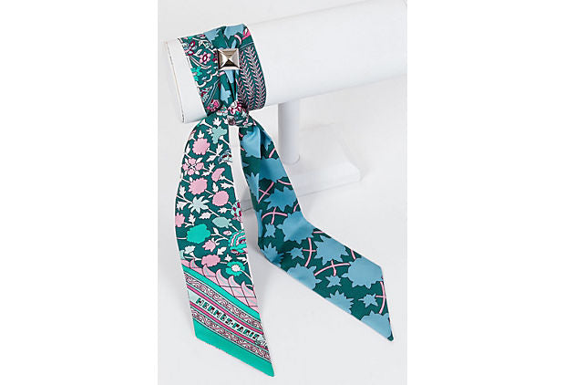 Hermes Flower Twilly Medor Silk Scarf