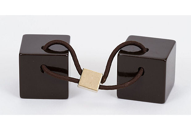 Vuitton Brown Resin Cube hair Tie