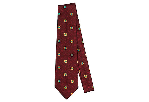 Chanel Burgundy Silk Tie