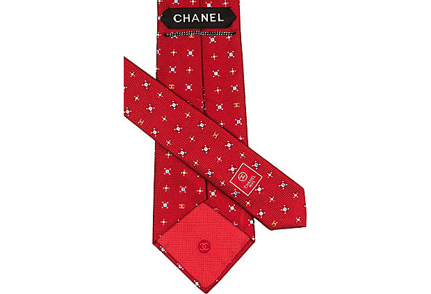 Chanel Red Silk Graphic Tie