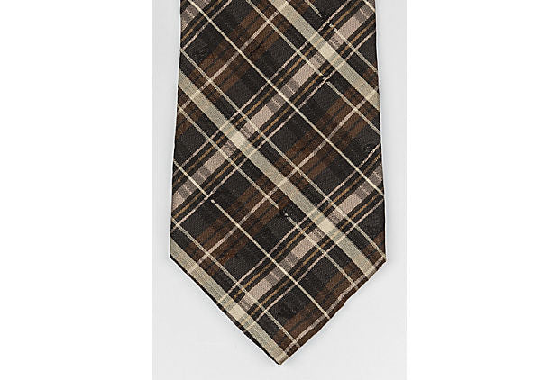 Louis Vuitton New Brown Plaid Print Tie