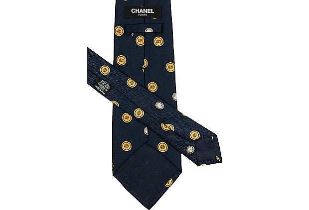 Chanel Black Silk Button Tie