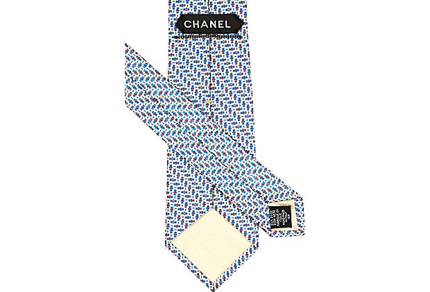 Chanel Blue Print Silk Tie