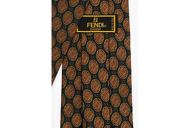 Fendi Silk Black Rust Print Tie