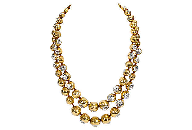 Chanel Double-Strand Crystal Necklace