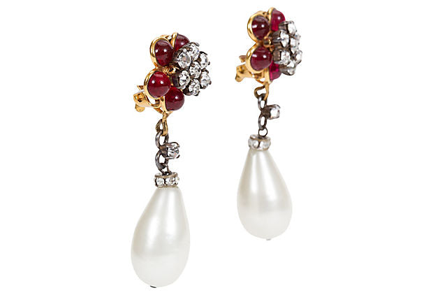 Chanel Purple Flower & Pearl Earrings