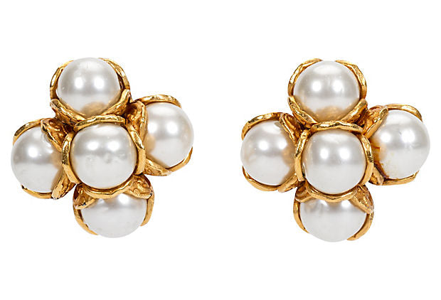 Chanel Faux Mabe Pearl Clip Earrings