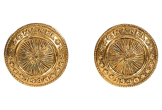 Chanel Coin Clip Earrings 1990