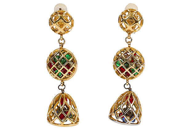 Chanel Collectible Cage Drop Earrings