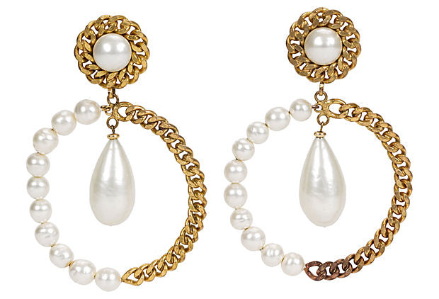 Chanel Oversize Pearl Hoop Drop Earrings