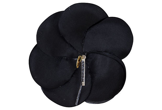 Chanel Black Silk Camellia Pin