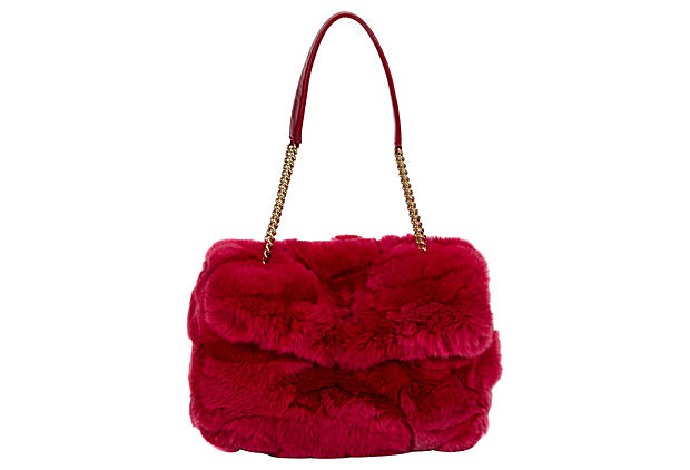 Chanel Chinchilla Red Flap Bag