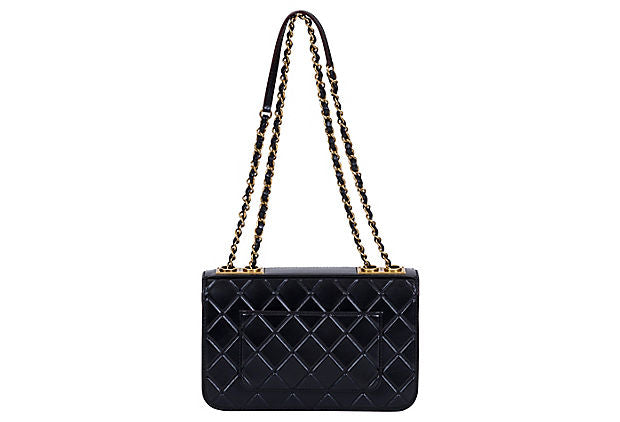 Chanel Black Brushed Leather Flap Bag