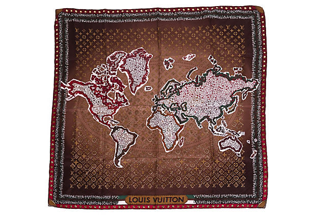 Louis Vuitton World Map Monogram Scarf